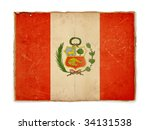 weathered flag of peru  paper... | Shutterstock . vector #34131538