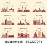 german cities. berlin  munich ... | Shutterstock .eps vector #341327045