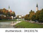 salzburg  austria  river salzach | Shutterstock . vector #34133176