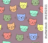 cartoon vector seamless pattern ... | Shutterstock .eps vector #341352311