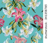 seamless floral pattern.white... | Shutterstock . vector #341358785