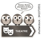 sepia theatre sign with bird... | Shutterstock . vector #341373551