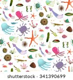 colorful kids cartoon sea life... | Shutterstock .eps vector #341390699