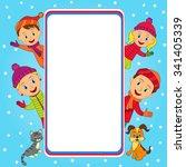 frame with family in winter ...   Shutterstock .eps vector #341405339