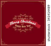 vintage card with merry... | Shutterstock .eps vector #341414489