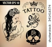 vector tattoo studio logo... | Shutterstock .eps vector #341416574