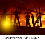 group of the workers on a... | Shutterstock . vector #34143325