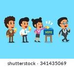 cartoon people putting voting... | Shutterstock .eps vector #341435069