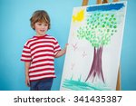 happy boy painting his picture... | Shutterstock . vector #341435387