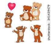 teddy bears set on white...   Shutterstock .eps vector #341439479