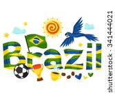 brazil design with objects on... | Shutterstock .eps vector #341444021