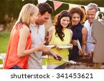 mature friends enjoying outdoor ... | Shutterstock . vector #341453621