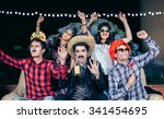 group of happy young friends... | Shutterstock . vector #341454695