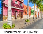 colourful houses and palm trees ...   Shutterstock . vector #341462501