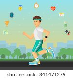 runner men running on the... | Shutterstock .eps vector #341471279