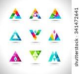 geometric triangles logo design.... | Shutterstock .eps vector #341472641