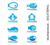 8 Style Blue Fish Logo Vector...