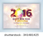 stylish text 2016 with colorful ... | Shutterstock .eps vector #341481425