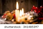 candles in a christmassy... | Shutterstock . vector #341485397