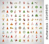 christmas icons and elements... | Shutterstock .eps vector #341495495