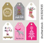 christmas gift tags and labels. ... | Shutterstock .eps vector #341502935