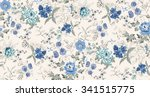 Stock vector seamless background of watercolor flowers 341515775