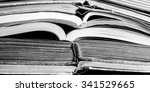 old book open on a wooden table ...   Shutterstock . vector #341529665
