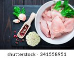 Raw Cut Chicken Fillet With...