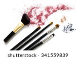 makeup brushes with blusher and ... | Shutterstock . vector #341559839