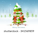 two smiling santa claus wishing ... | Shutterstock .eps vector #341569859