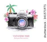 watercolor retro camera with... | Shutterstock . vector #341571971
