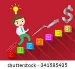 businessman jump over growing... | Shutterstock .eps vector #341585435