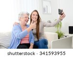 elderly woman making selfie... | Shutterstock . vector #341593955