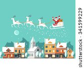 santa claus on sleigh and his... | Shutterstock .eps vector #341599229