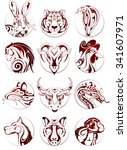 chinese zodiac signs as ink...   Shutterstock .eps vector #341607971