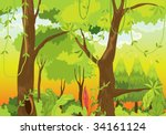 illustration of  a forest ... | Shutterstock . vector #34161124
