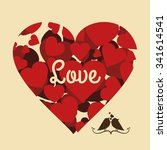 love concept with cute icons... | Shutterstock .eps vector #341614541