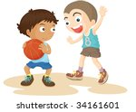illustration of  a two boys on... | Shutterstock . vector #34161601