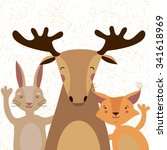 cute forest animals concept.... | Shutterstock .eps vector #341618969