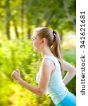 woman running in the forest and ... | Shutterstock . vector #341621681
