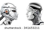 good mood male robot and female ... | Shutterstock . vector #341653211