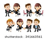 businesspeople in cooperation ... | Shutterstock .eps vector #341663561