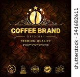 gold coffee label. premium... | Shutterstock .eps vector #341682611