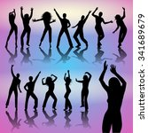 silhouettes of dancing people...   Shutterstock .eps vector #341689679