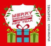 merry christmas concept with... | Shutterstock .eps vector #341692481