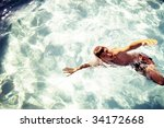 boy swimming in the pool. top... | Shutterstock . vector #34172668