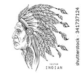 man in the native american... | Shutterstock .eps vector #341737124