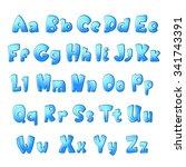 bold abc set for children. blue ... | Shutterstock . vector #341743391