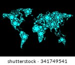 the abstract world map drawn by ... | Shutterstock . vector #341749541