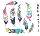 set of ethnic feathers | Shutterstock .eps vector #341756741